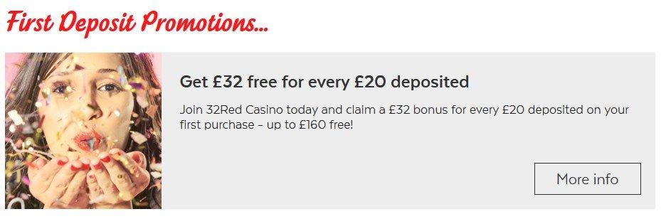32red casino welcome bonus
