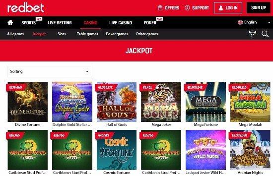 redbet casino progresive jackpot games