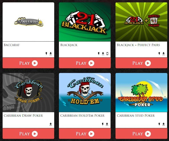 Lucky Red casino table games