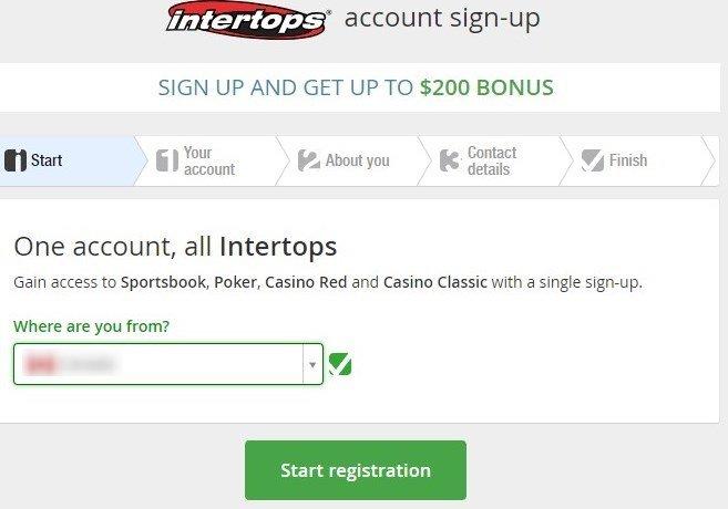 Intertops Casino sign up